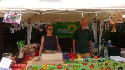 Grüner Stand beim Dorffest Putzbrunn 2017